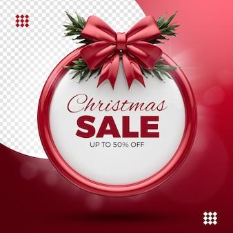 Saldi natalizi, fino al 50% di sconto, nastro rosso e rami degli alberi
