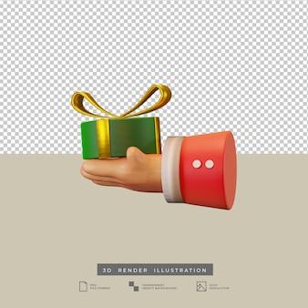 Mano di babbo natale con illustrazione 3d di scatola regalo rotonda verde