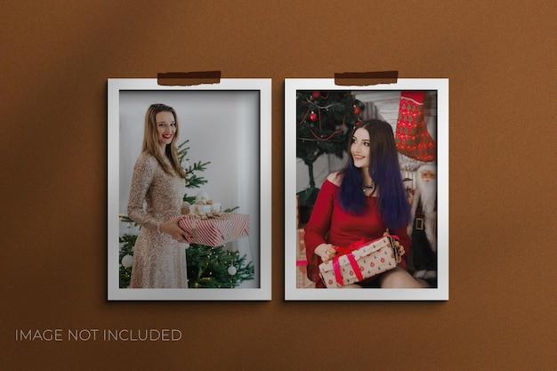 Modelli di istantanee di natale mockup di cornici per foto