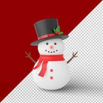Pupazzo di neve di natale isolato 3d render