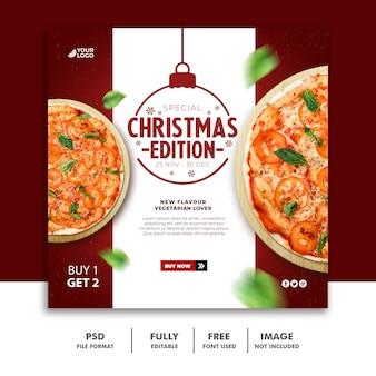 Modello di banner di natale social media post per il menu del cibo del ristorante