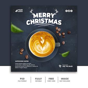 Modello di post sui social media di natale per il menu della bevanda caffè