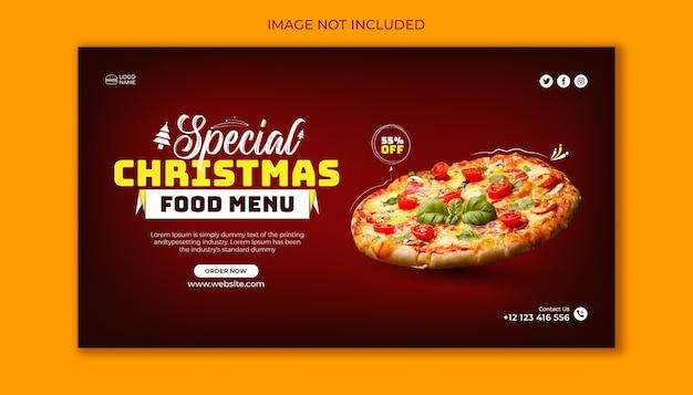 Modello di progettazione banner web menu cibo sconto speciale di natale