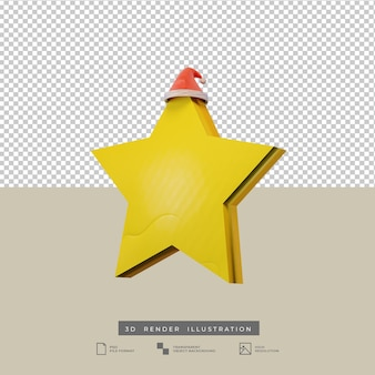 Stella di natale con illustrazione 3d del cappello di babbo natale