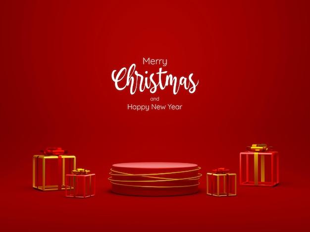 Tema natalizio del podio geometrico con confezione regalo, illustrazione 3d