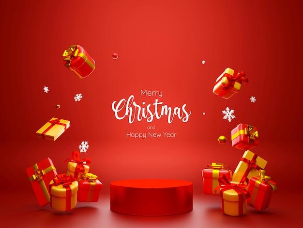 Podio geometrico a tema natalizio con regali, illustrazione 3d