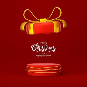 Tema natalizio del podio della confezione regalo per la pubblicità del prodotto, illustrazione 3d