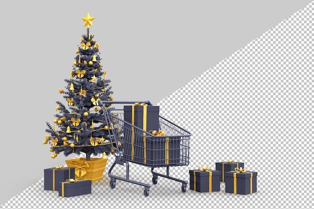 Albero di natale, scatole regalo e carrello della spesa