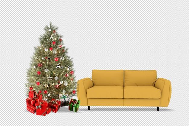 Regali e poltrona dell'albero di natale in 3d resi isolati