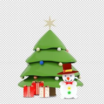Albero di natale, regali e pupazzo di neve in 3d reso isolato