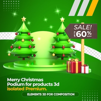 Rendering di albero di natale, podio e vendita di prodotti