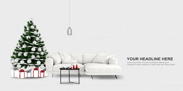 Albero di natale e divano in rendering 3d