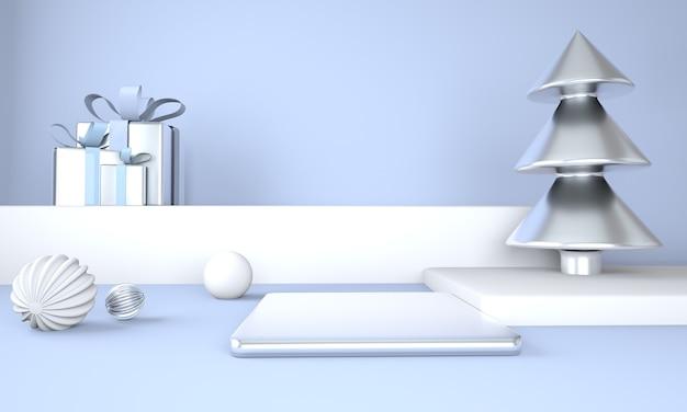 Albero di natale e palco per la visualizzazione del prodotto rendering 3d