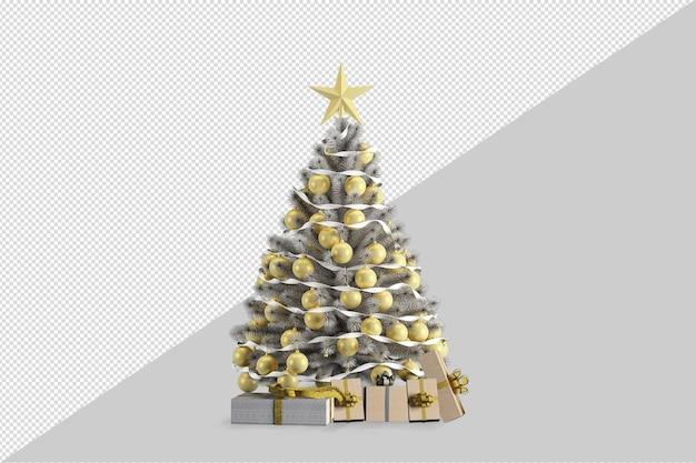 Albero di natale con regali su sfondo bianco