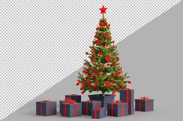 Albero di natale con scatole regalo regali