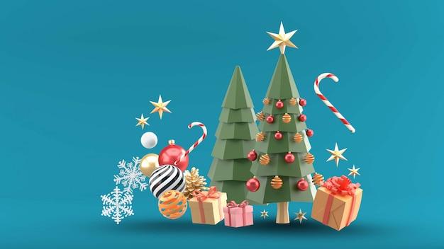 Alberi di natale circondati da scatole regalo, sfere di cristallo, caramelle e neve sul blu