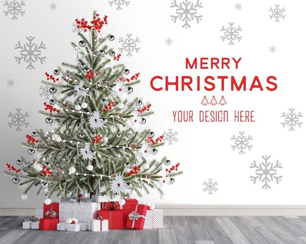 Mockup di carta da parati natalizia con albero di natale e scatole regalo rosse