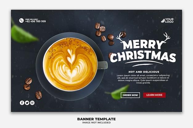 Banner web di natale o modello di pagina di destinazione per ristorante alimentare