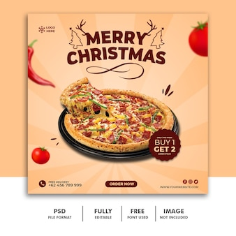 Modello di post sui social media di natale per la pizza deliziosa del menu del cibo del ristorante