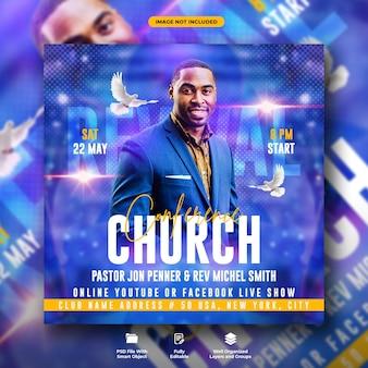 Volantino della conferenza della chiesa e modello di post sui social media