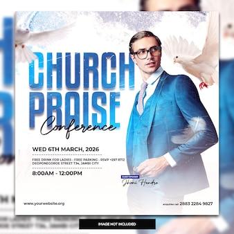Volantino per la conferenza della chiesa sui social media post banner web