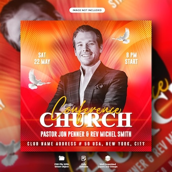 Volantino per la conferenza della chiesa e modello di banner web per social media