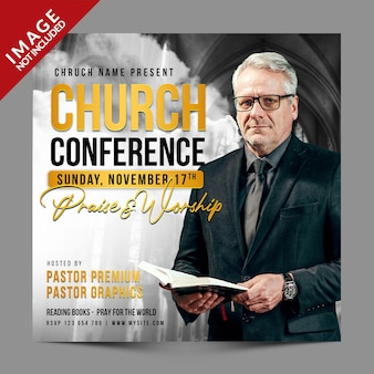 Modello psd premium per post sui social media della conferenza della chiesa