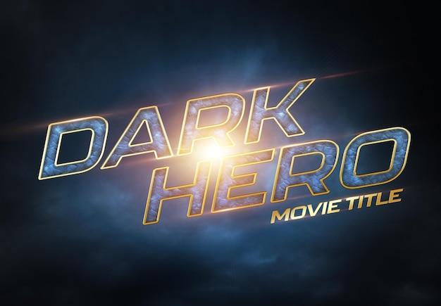 Titolo del film di supereroi con effetto di testo cinematografico