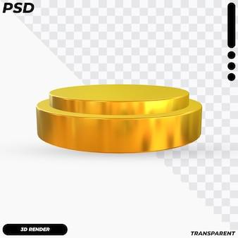 Podio dorato del cerchio con il rendering 3d