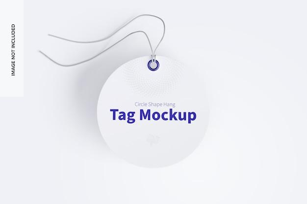 Mockup di tag da appendere a forma di cerchio con stringa