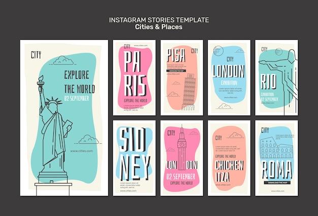 Modello di storie di instagram di città e luoghi