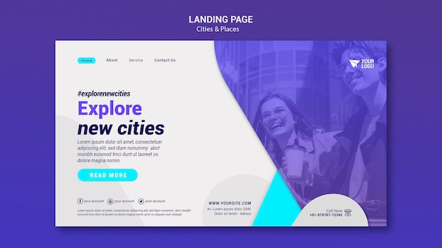 Pagina di destinazione di città e luoghi