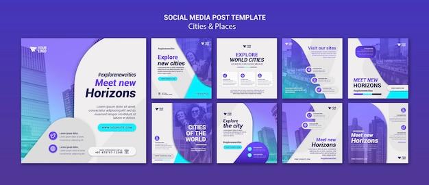Post di città e luoghi sui social media