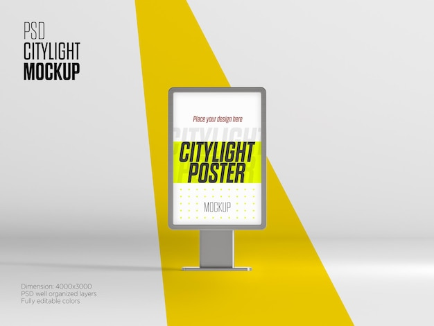 City light billboard mockup vista frontale