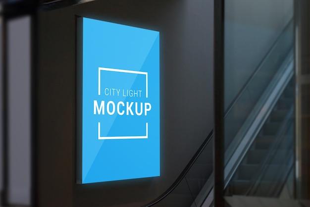 Mockup di luce della città nel centro commerciale