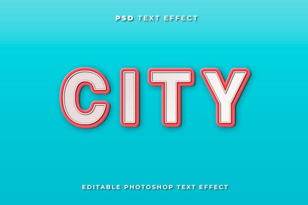 Modello di effetto testo della città con sfondo blu