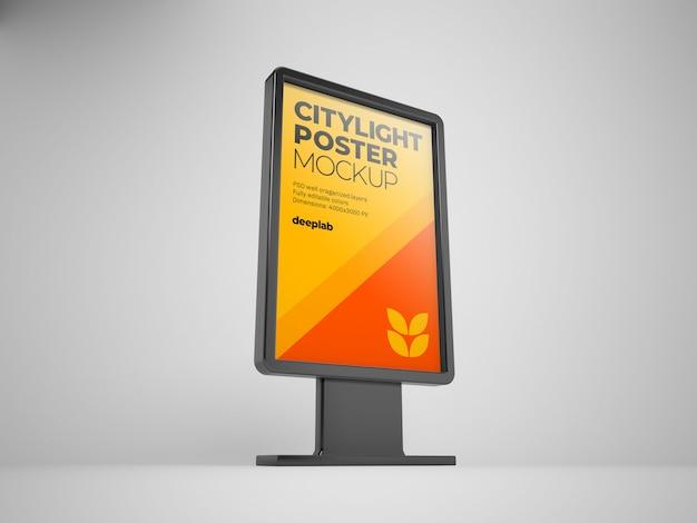 Mockup di poster citylight con colore di sfondo modificabile
