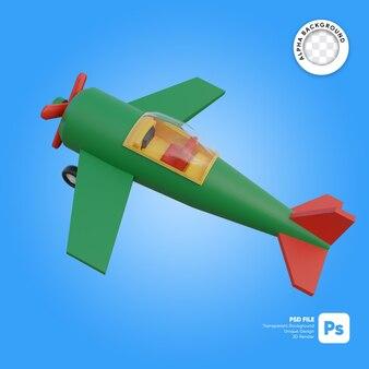 Vista classica dell'aeroplano dall'alto oggetto 3d