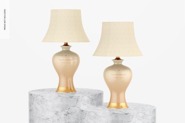 Mockup di lampade da tavolo classiche in ceramica, prospettiva
