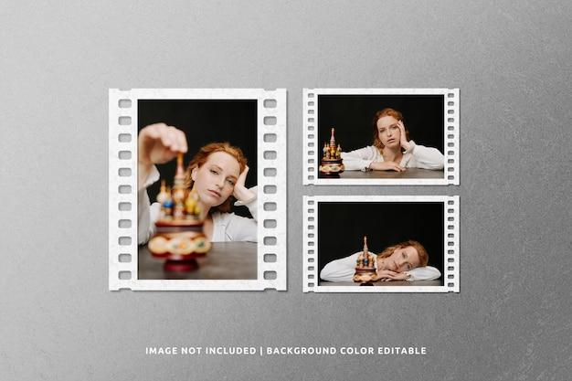 Mockup di cornice di carta classica per collage di film