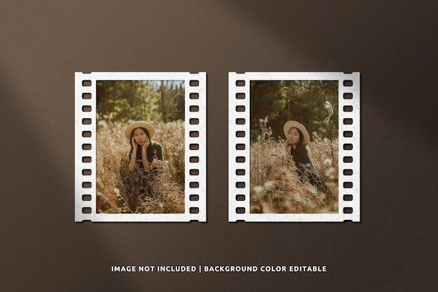 Mockup di cornice di carta per ritratti di film classico con ombra