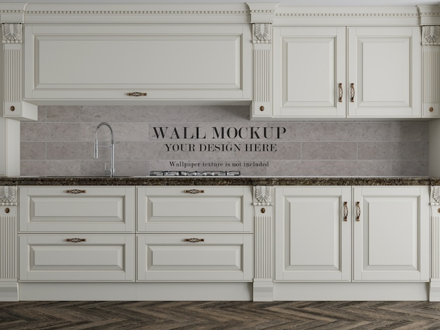 Mockup di muro di cucina classica con accessori