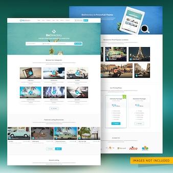 Psd premium modello di sito web di marketing di elenchi di directory e classificati