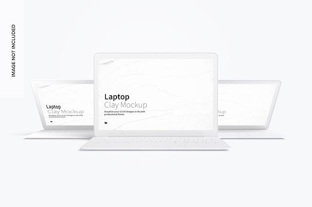 Vista frontale del mockup del laptop di argilla
