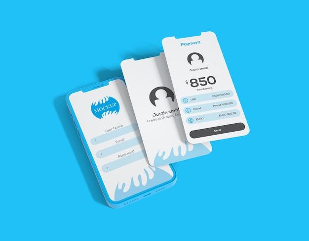 Mockup di app per display mobile clay