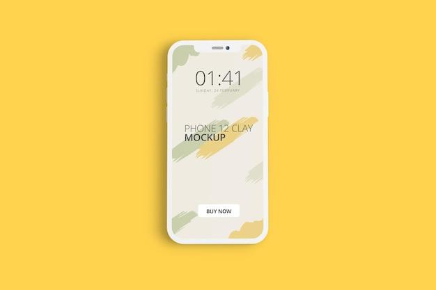 Progettazione di mockup dello schermo del telefono di argilla isolato
