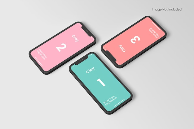 Mockup di app per smartphone clay