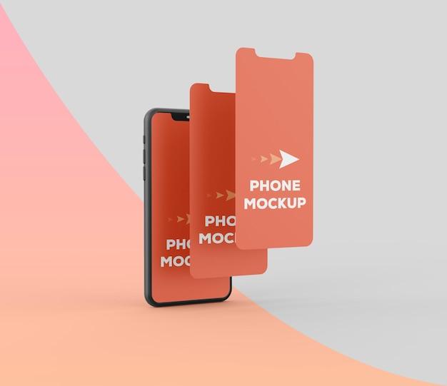 Smartphone clay per il rendering del mockup dello schermo delle app