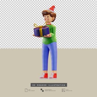 Ragazzo di natale carino in stile argilla con illustrazione 3d di vista laterale della scatola regalo con fiocco in oro