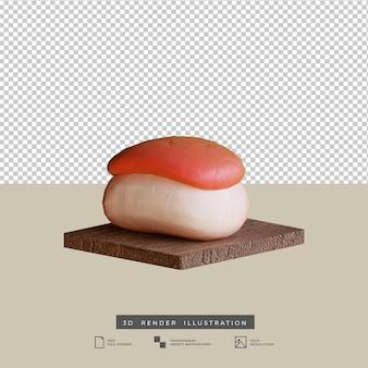 Illustrazione 3d di sushi di cibo giapponese in stile argilla